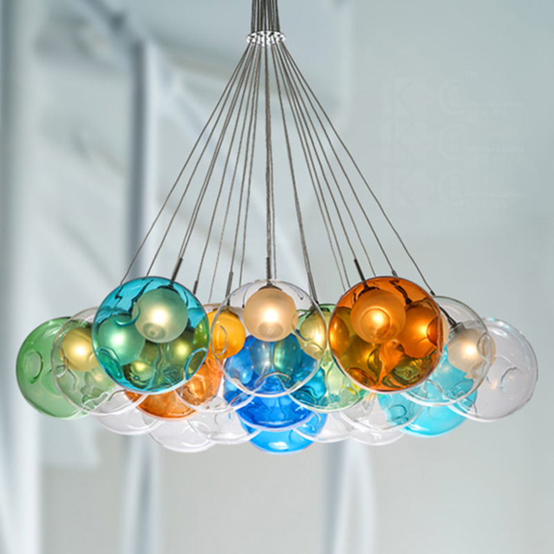DIY Creative design Modern LED colorful glass pendant lights lamps for dining room living room bar led G4 bubble glass light fumat stained glass pendant lamps european style glass lamp for living room dining room baroque glass art pendant lights led