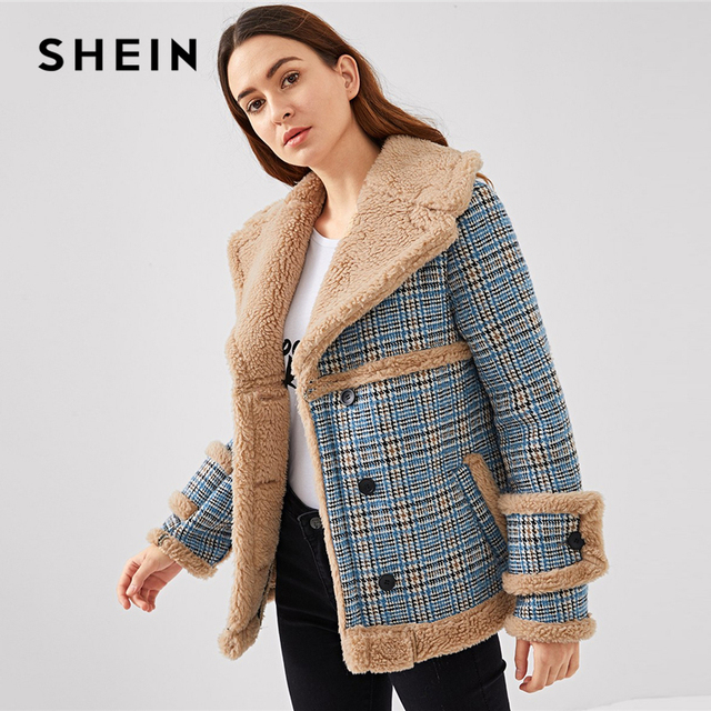 098e8c8f4c10 SHEIN Multicolor Waterfall Collar Contrast Faux Fur Plaid Coat Casual  Single Breasted Pocket Outerwear Women Tweed Winter Coats