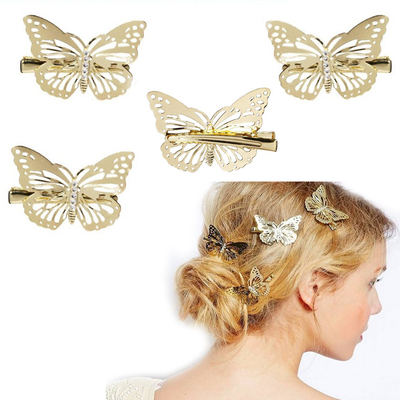 1Pc Hollow Butterfly Hairs Clips Women Hair Accessories Girls Hairgrips Headpiece Hair Head Side Decor Wedding Jewelry Hairpins