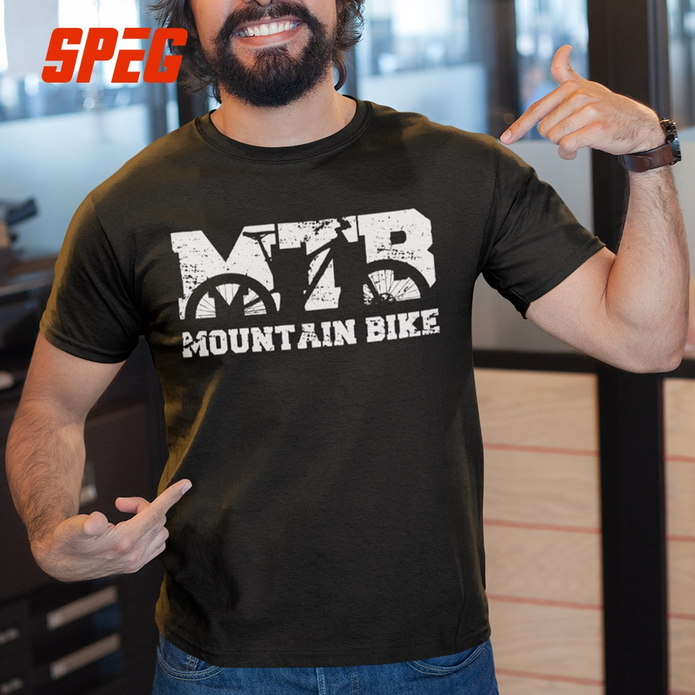 Mountain Biking Vintage MTB Distressed Design   T     Shirts   100% Cotton Tees Short Sleeve Men Vintage Round Collar Newest   T  -  Shirt