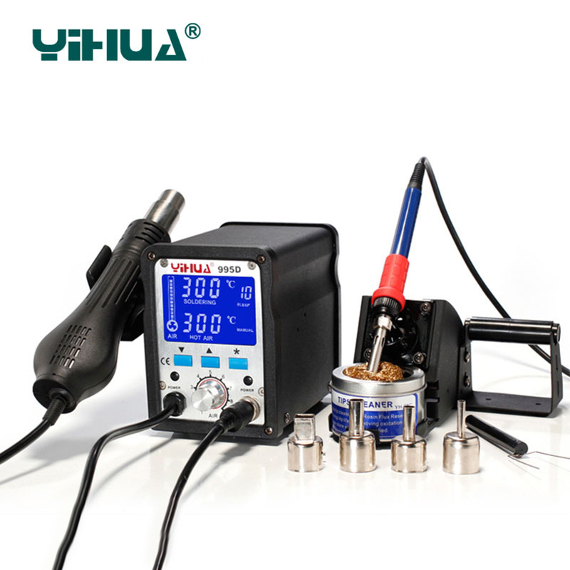 YIHUA 995d soldering station 2 In 1 smd hot air gun + soldering iron motherboard desoldering welding repair bga rework station yihua 27 in 1 portable digital bga rework solder station hot air electric soldering iron electronic welding repair tools set