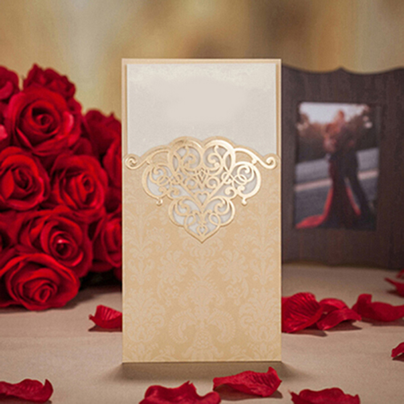 50pcs Gold Red Laser Cut Hollow Flower Marriage Wedding Invitation Cards With Customize Greeting Cards Event Party Supplies
