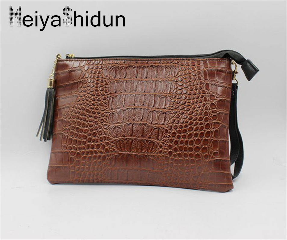 MeiyaShidun Women Clutch Bags Vintage Leather Crocodile Pattern Envelope Shoulder bag Small Messenger Solid Handbag purse bolsas freeshipping 2016 genuine leather man small bag vintage clutch bag crocodile pattern leather men messenger bags 7267c