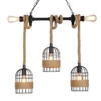 retro loft lamps vintage hemp rope pendant lights industry wind pub bar cafe restaurant living room stair corridor light