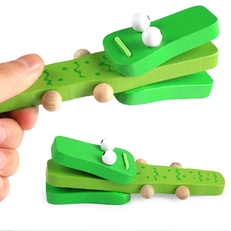 Green WOODEN CASTANET Clapper LADYBUG Music Musical EDUCATIONAL Toy TODDLER Kids