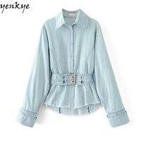 Fashion Women Vintage Light Blue Denim Shirt Autumn Blouse Long Sleeve Turn Down Collar Drawstring Waist