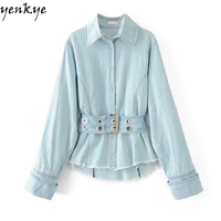 Fashion Women Vintage Light Blue Denim Shirt Autumn Blouse Long Sleeve Turn Down Collar Drawstring Waist