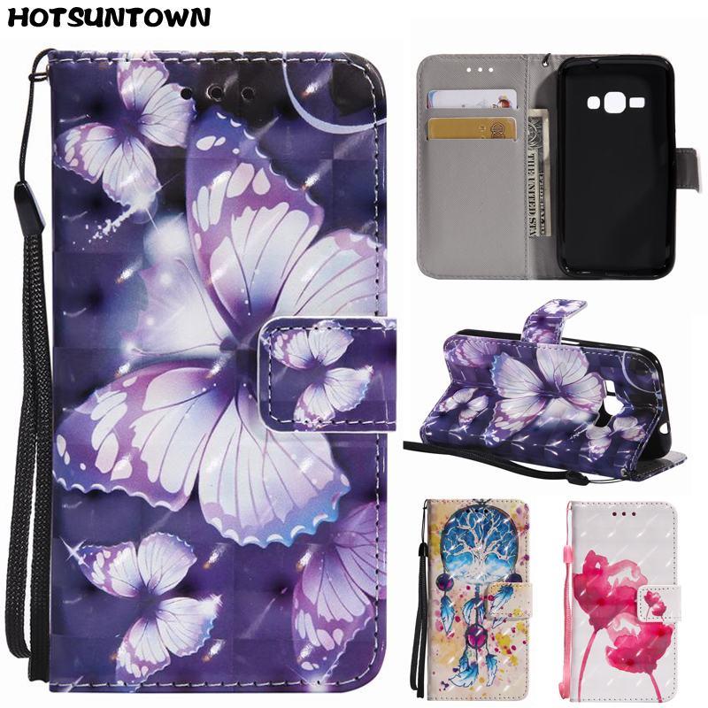 3D Butterfly Flip Case For Hoesje Samsung Galaxy J1 2016 J120 J120F SM-J120F Phone Case For Samsung Galaxy J1 2016 Leather Coque