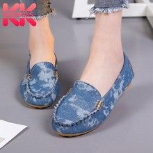 ead1d74ee 35-44 KemeKiss Plus Size Mulheres Apartamentos Sapatos Da Moda Jeans Sapatos  De Pano Mulheres Conforto Casual Sola Macia Mocassi.
