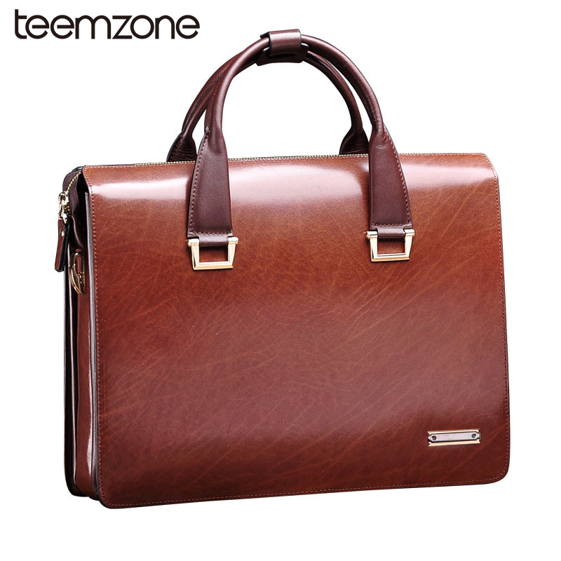 Teemzone Men Genuine Leather Vintage Formal Business 14