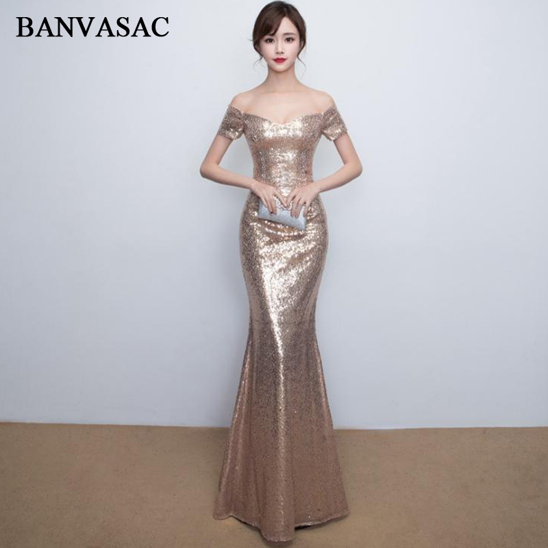 BANVASAC 2018 Sweetheart Sequined Off The Shoulder Mermaid