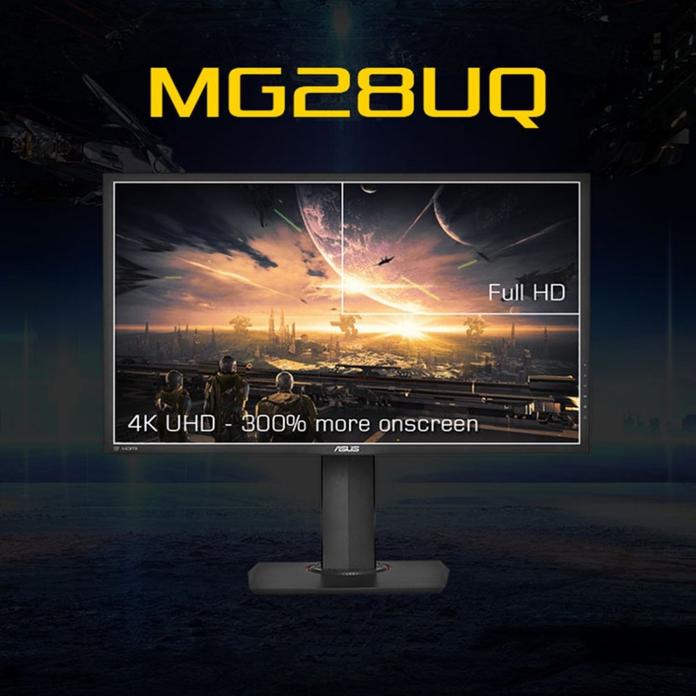 New ASUS MG28UQ Large 28 Inch FreeSync Gaming Monitor 4K/ UHD 3840x2160 1ms HDMI Ergonomic Back-light LED Monitor