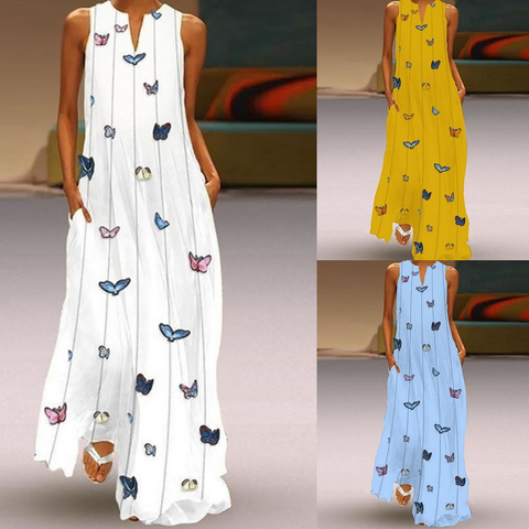 HEFLASHOR Summer Long Dresses Women Butterfly Printed V Neck Loose Big Swing Dress Boho Beach Dress Tunic Maxi Dress Party Wear Pakistan