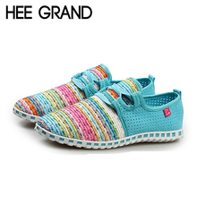 HEE GRAND Summer Flat Shoes Woman Comortable Casual Lace-Up Flats Breathable Outdoor Women Shoes 3 Colors Size 35-40 XMF263