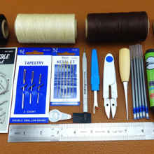 20pcs Leather Craft Sewing Stitching Needle Thread Awl Scissors Ruler Thimble Pliers Tool Set- Carvie Stamp Knife Punch Chisel