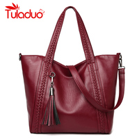 Women Shoulder Bags Leather Women Bags Designer Brand Handbags High Quality Ladies Knitting Bags Tassel Shoulder