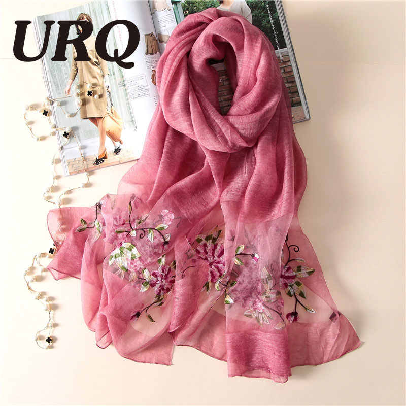 50% Natural Silk Scarf 50% wool Blend Scarf for women spring big foulard Embroidered Chinese style soft bright design