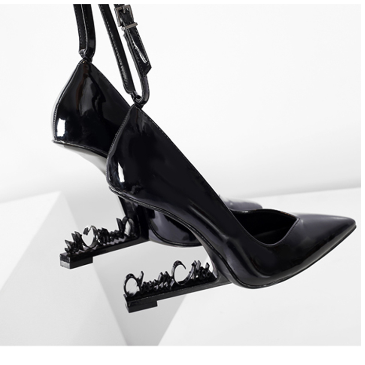 Fashion Black Patent Leather Women Pumps Strange High Heels Pointy Toe Women Pumps Ankle Strap Party Dress Shoes Zapatos Mujer fashion women s pumps with strange heels and patent leather design