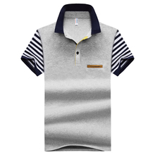 Polo shirt Summer Mens Business Casual Breathable Sleeve Stripe Colorblock Short Shirt Cotton Slim