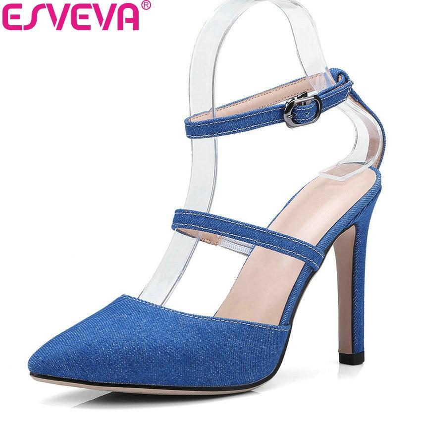 ESVEVA 2018 Women Sandals Three Kind Vamp PU Pointed Toe Summer Denim Shoes Sandals Thin High Heels Shoes for Woman Size 34-43 цена