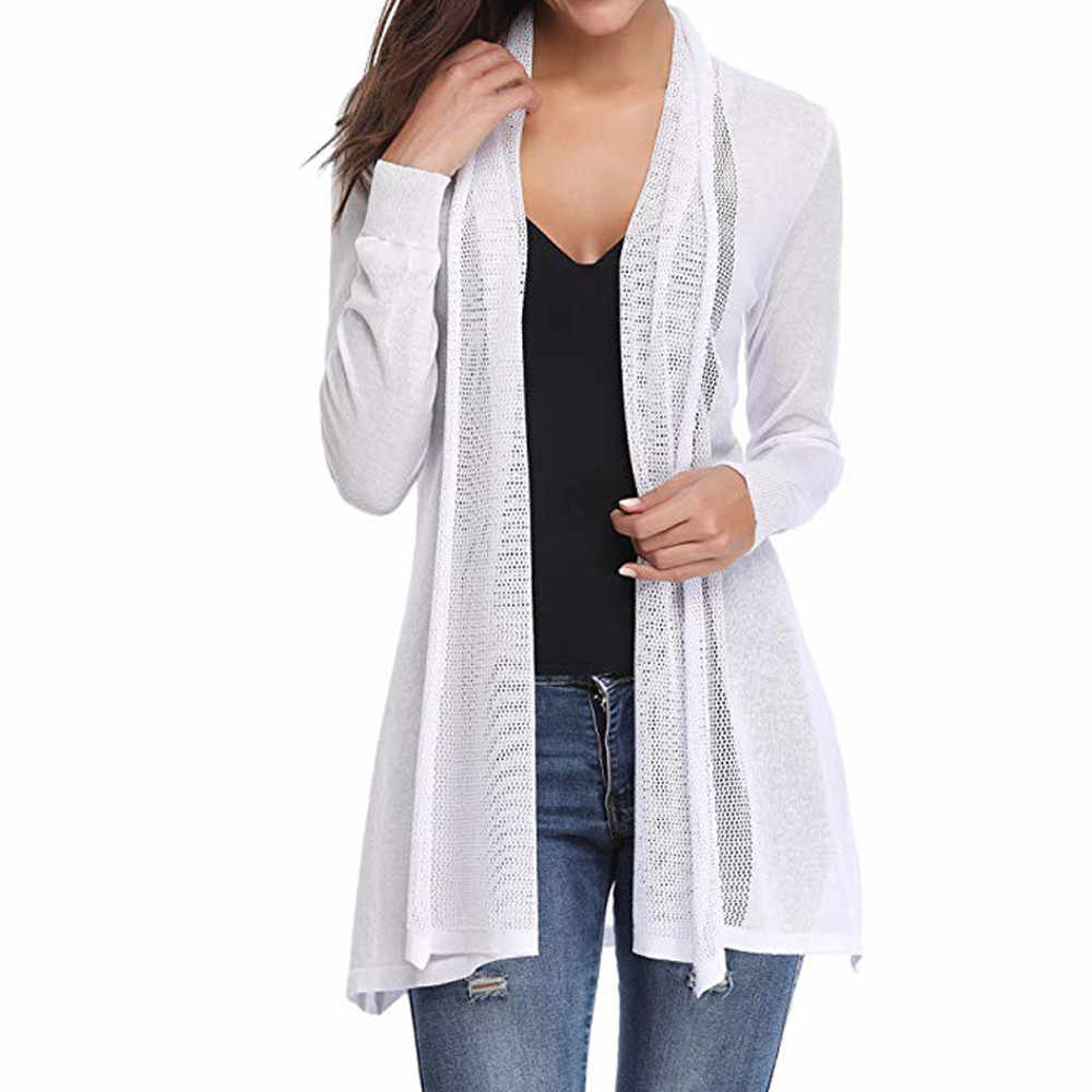 New Fashion Hoge Kwaliteit Womens Casual Sexy Lange Mouwen Open Voorzijde Patchwork Vest Trui Jas Drop Shipping