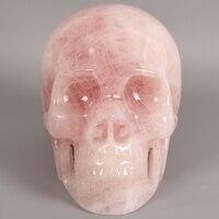 7 Inch 3740g Human Shape Crystal Skull Big Statue Natural Rose Quartz Jade Skull Figurine Crystal