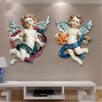 European Style Angel Cupid Resin Stereoscopic Wall Hangings Fashion Living Room Bedroom Background Wall Art Decorations X2093