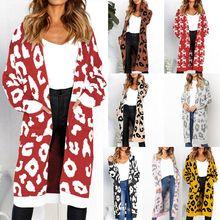 Frauen Herbst Winter Langarm Vorne Offen Pullover Strickjacke Leopard Weihnachten  Rentier Gedruckt Kontrast Farbe Strickwaren Mantel becc5c3e3e