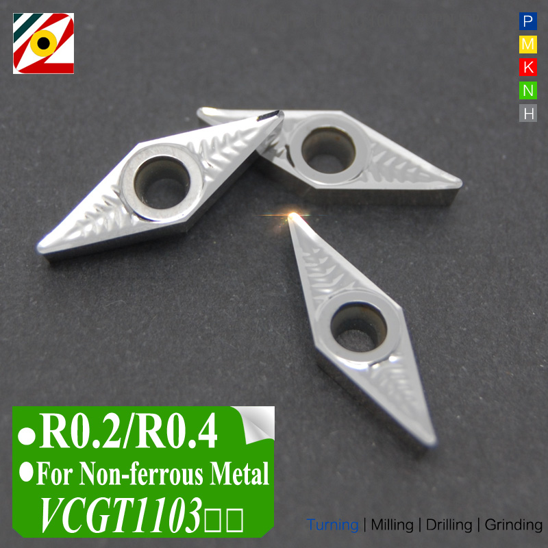 EDGEV 10PCS CNC-keményfém betétek VCGT110302 VCGT110304 VCGT2205 VCGT221 Indexelhető keményfém esztergáló szerszámok alumínium-réz megmunkálásához
