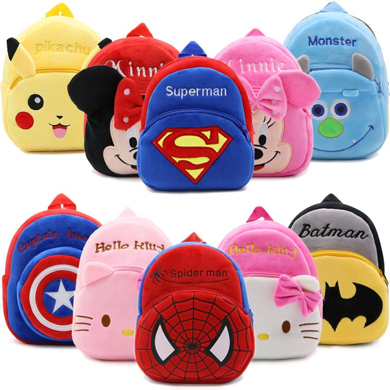 2017 Cartoon Kids Plush Backpacks Mini schoolbag Hello Kitty Plush Backpack Children School Bags Girls Boys Backpack