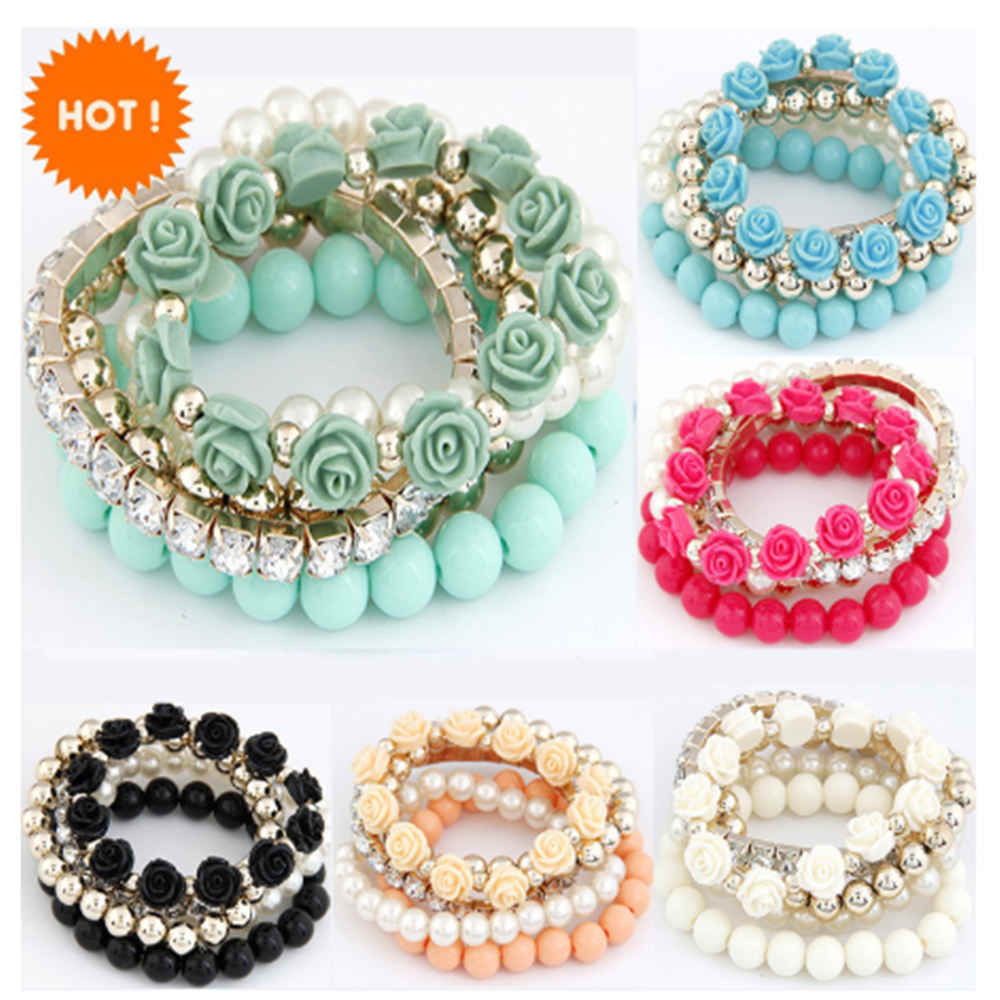 2019 Bohemian Fashion Candy Color Pearl Bracelets for Women Rose Flower 5 Strip Multilayer Beads Stretch Charm Bracelet & Bangle