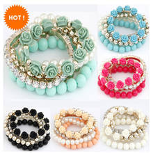2019 Bohemian Fashion Candy Color Pearl Bracelets for Women Rose Flower 5 Strip Multilayer Beads Stretch Charm Bracelet & Bangle(China)