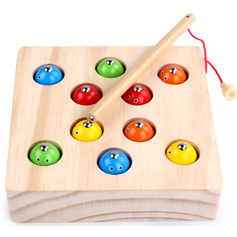 Toys & Hobbies Fishing Toys Fish Toys Baby Early Educational Toys 10pcs Fish Wooden Magnetic Fishing Toy Set Fish Toy Sandbox For Children