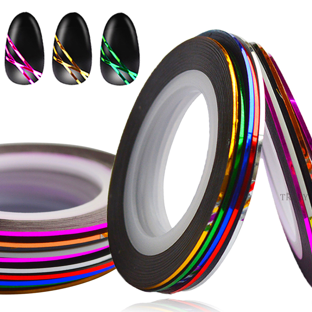 10pcs/Lot 1mm Mixed Color Rolls Nail Art Striping Tape Line Sticker Zilver Glitter Decorations DIY Tips Tools TRNC391