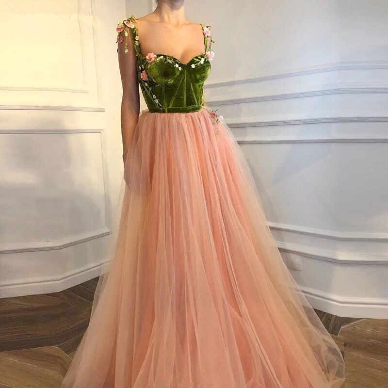 Champagne Muslim Evening Dresses 2019 A-line Sweetheart Tulle Velvet Flowers Dubai Saudi Arabic Long Formal Evening Gown