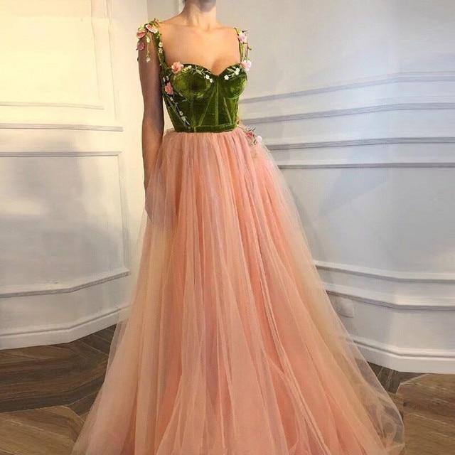 שמפניה מוסלמי ערב שמלות אונליין מתוקה טול קטיפה פרחים דובאי ערב ערבית ארוך פורמליות ערב שמלה