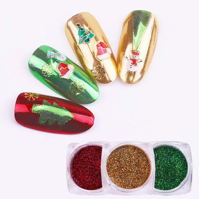 Born Queen 3 Boxes Christmas Nail Powder Glitters Gold Green Red Mirror Chrome Pigments Powder Manicure Nail Art Decoration