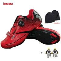 BOODUN New Men Professional Road Bike Shoes Anti Slip Self Locking Cycling Shoes Sports Racing Shoes