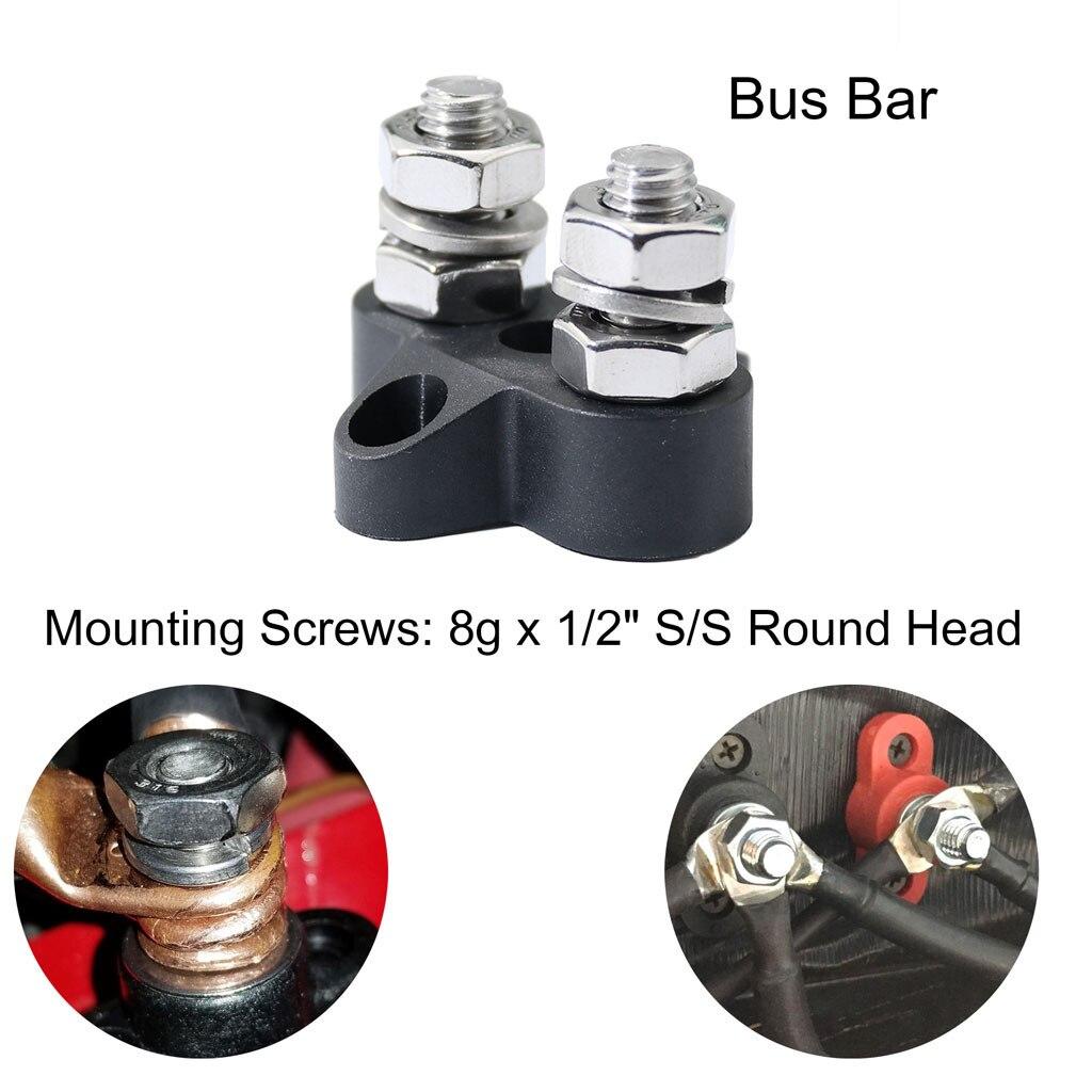 "Black 8 Terminal Block Buss Bar Distribution Stud Junction Post JQuad 5//16/"""