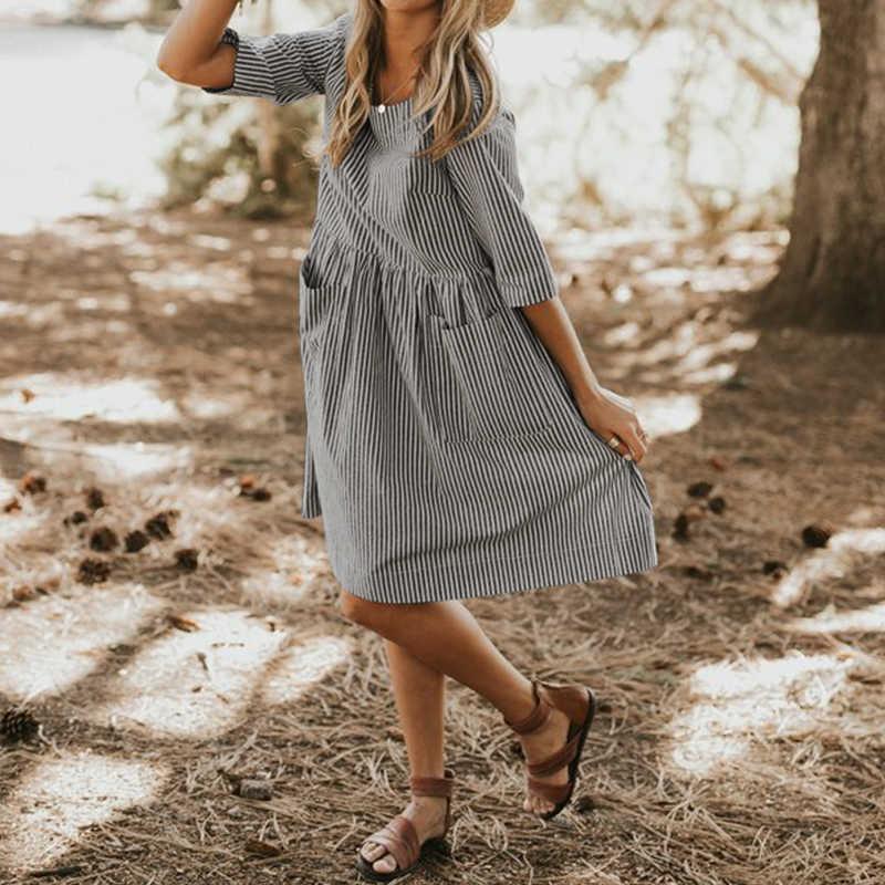 Lipswag Повседневное платье с круглым вырезом с рукавом 1/2, для вечеринок для женщин 2019 Лето Полосатый сарафан элегантные мешковатые карманы Femme платья негабаритных