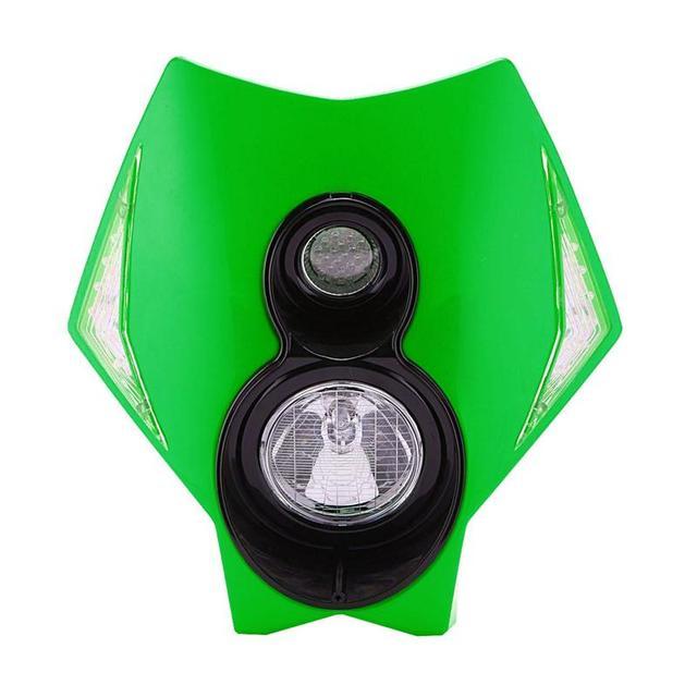 Green PC Plastic Motorcycle Headlight Fairing Kit 12V Enduro Style Hi-Lo Beam LED Lighting For Yamaha Honda Sherco Malaguti
