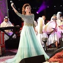 Robe de soriee Myriam Fares Celebrity Kleider Ice Blue Scoop Perlen Halbe Hülse Lange Abendgesellschaft Kleider vestidos curto