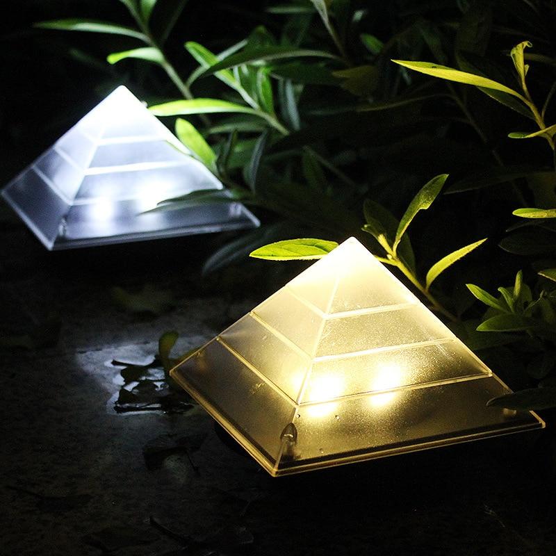 1PC New Solar Power Pyramid Lawn Lamp Garden Underground Buried Landscape Light Outdoor  ...