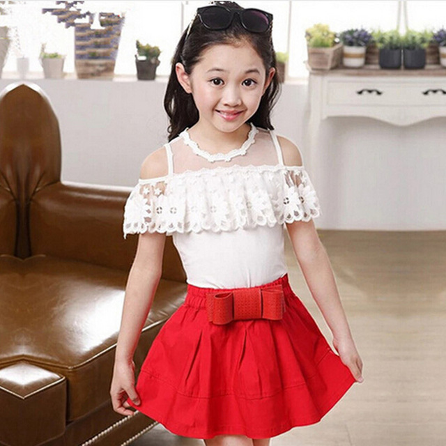 dc8158ad1 New CHIC Korean Fashion Summer Cute Girls Clothing Sets Lace Off Shoulder T  shirt With Ruffles Skirt Kids Clothes