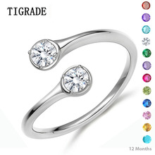 TIGRADE Wrap Resizable 925 Sterling Silver Ring Women Cubic Zirconia 12 Months Birthstone Wedding Engagement Band bague