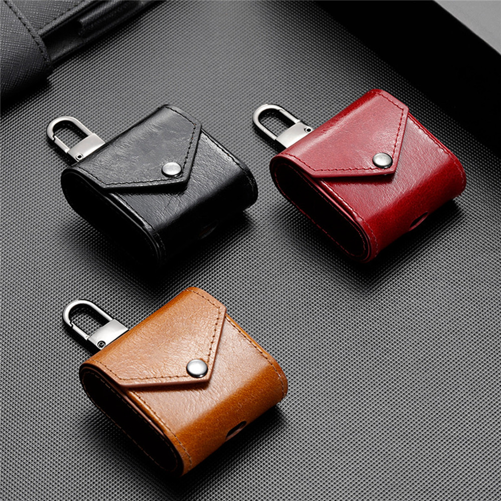 Genuine Leather Case for Apple AirPods with Hook Wireless Bluetooth Headset Bag For AirPods