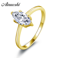 100 10K Gold Yellow Solitaire Rings Hotting Sale Sona Synthetic Simulated Diamond Engagement Wedding Ring Jewelry
