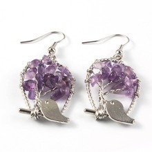 UMY Silver Plated Natural Purple Amethysts Stone Earrings Tree of Life Standing Cute Bird Crystal Earrings For Women