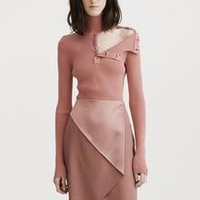 2019 Spring Women New Long-sleeved High-necked Sweater Threaded Bottom Fashion Sweater WomenPullovers Turtleneck