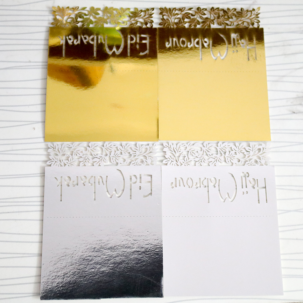 50 Pieces 9x12cm Gold And Silver Eid Party Table Card Eid Mubarak And Hajj Mabrour Greeting Cards For Eid Party Decoration In Cards Invitations From